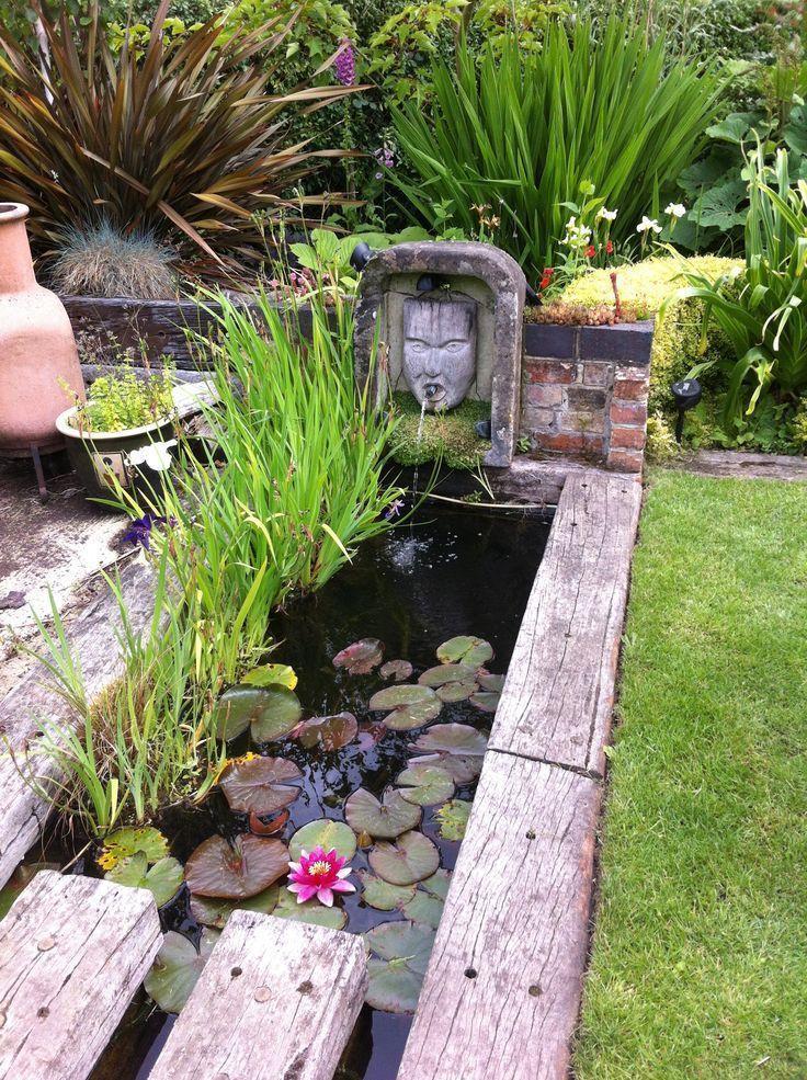 This unusual water feature using reclaimed railway sleepers Garden ...