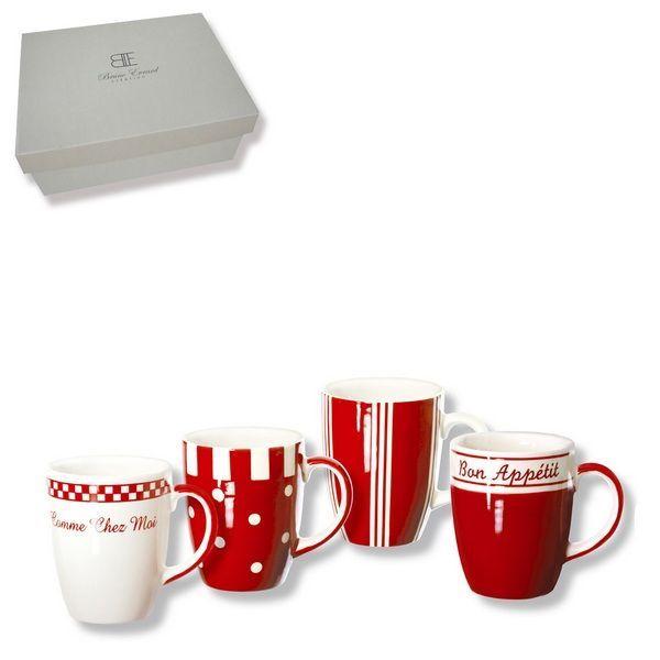 Coffret de 4 mugs faïence Cooky rouge 25 cl