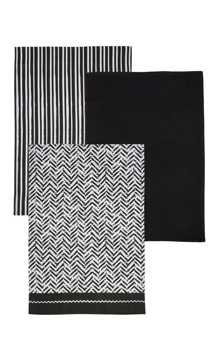Primark 3 Pack Monochrome Tea Towels Black Kitchens Interior Decorating Kitchen Kitchen Towels