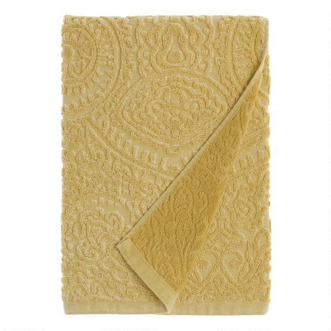 Mustard Sunfaded Sculpted Raquel Bath Towel V1 Towel Collection Bath Towels Towel