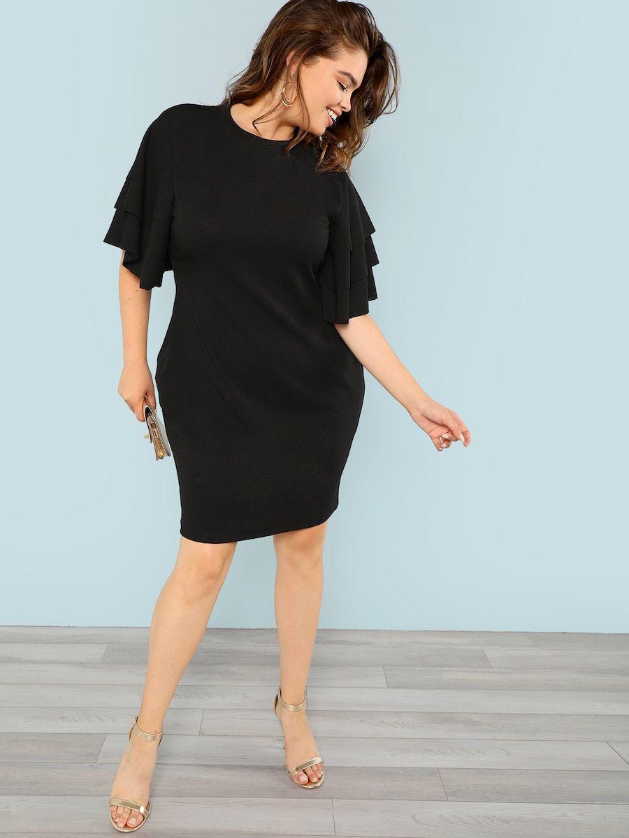 Plus Mock Neck Flutter Sleeve Bodycon Dress Shein Sheinside Bodycon Dress With Sleeves Black Dress With Sleeves Mesh Sleeved Dress [ 1199 x 900 Pixel ]