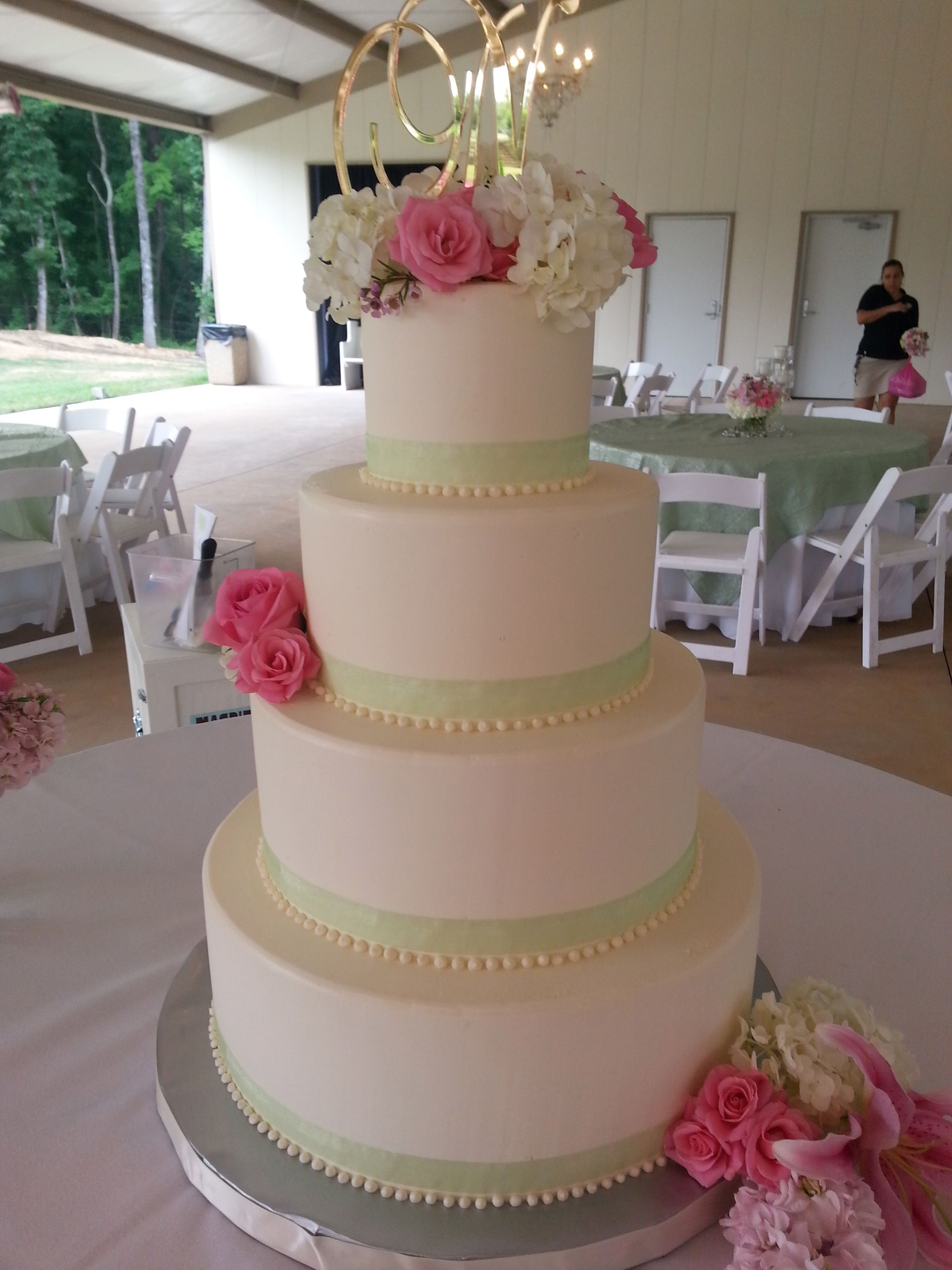 Magpies Bakery Knoxville  TN Buttercream wedding cake with ribbon     Magpies Bakery Knoxville  TN Buttercream wedding cake with ribbon and  floral additions for color and texture   flowers  weddings  wedding  ido   knoxville