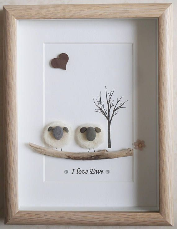 Pebble Art framed Picture - Sheep - I love Ewe