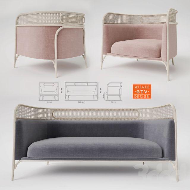 3d модели: Диваны - Gebruder Thonet Vienna Targa Lounge and Sofa