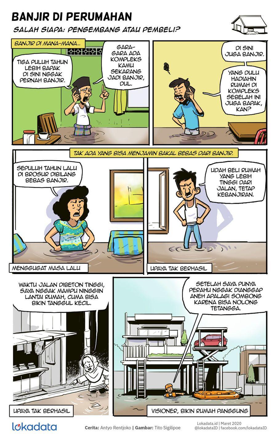 Komik Ada Saja Cara Hadapi Banjir Meski Belum Tentu Efektif Komik Bangunan