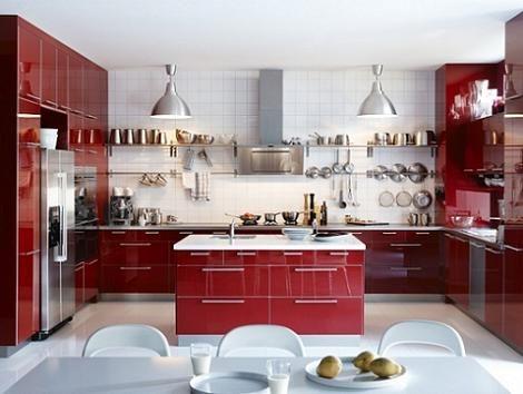 Cocina roja ikea hogar dulce hogar pinterest red kitchen kitchens and interiors - Cocinas modernas ikea ...