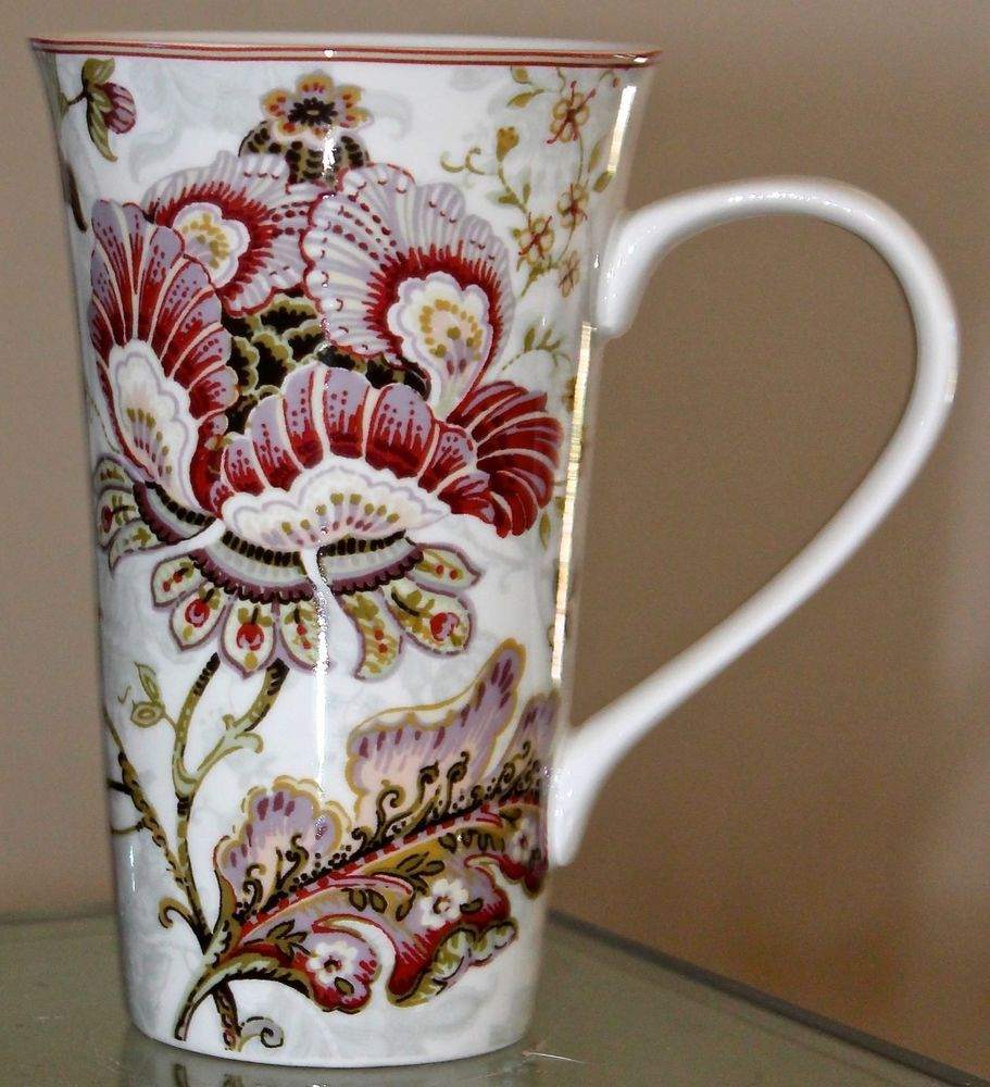 222 fifth gabrielle cream mug lattee coffee floral 6 1/4th new ...