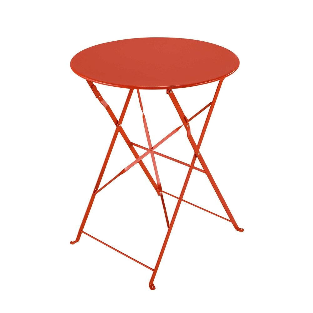 Table de jardin pliante en métal rouge framboise Confetti | Products ...