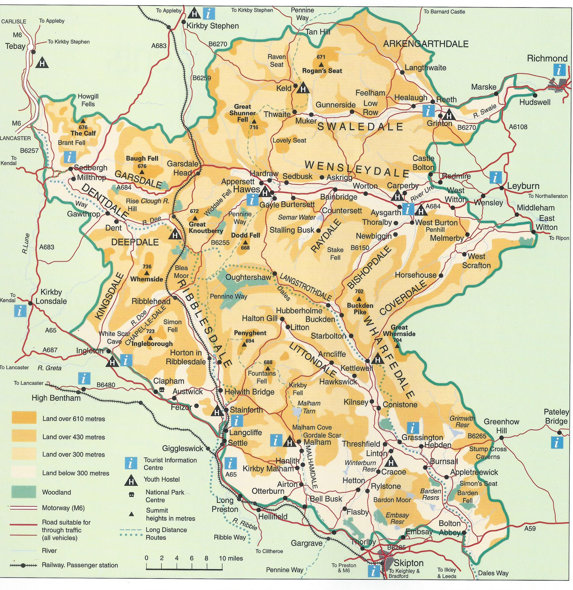 Places To Visit North East Coast England: A Nice Map: Yorkshire Dales Map