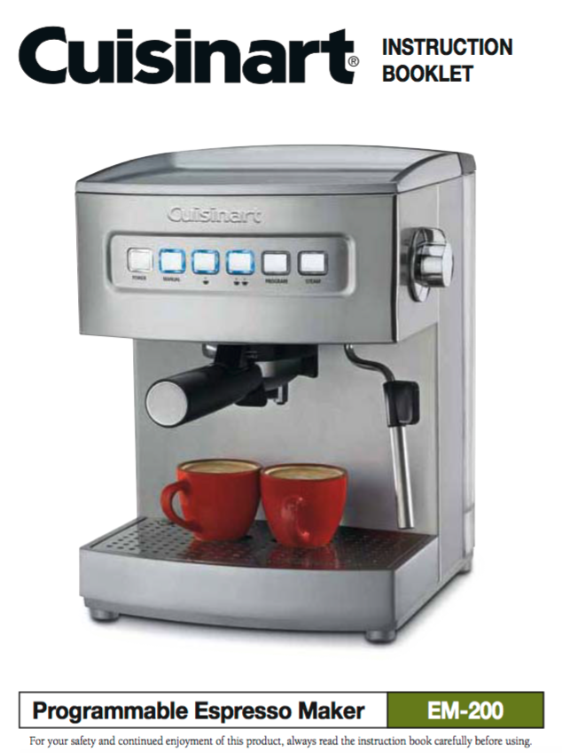 Programmable Espresso Maker (EM200) Product Manual