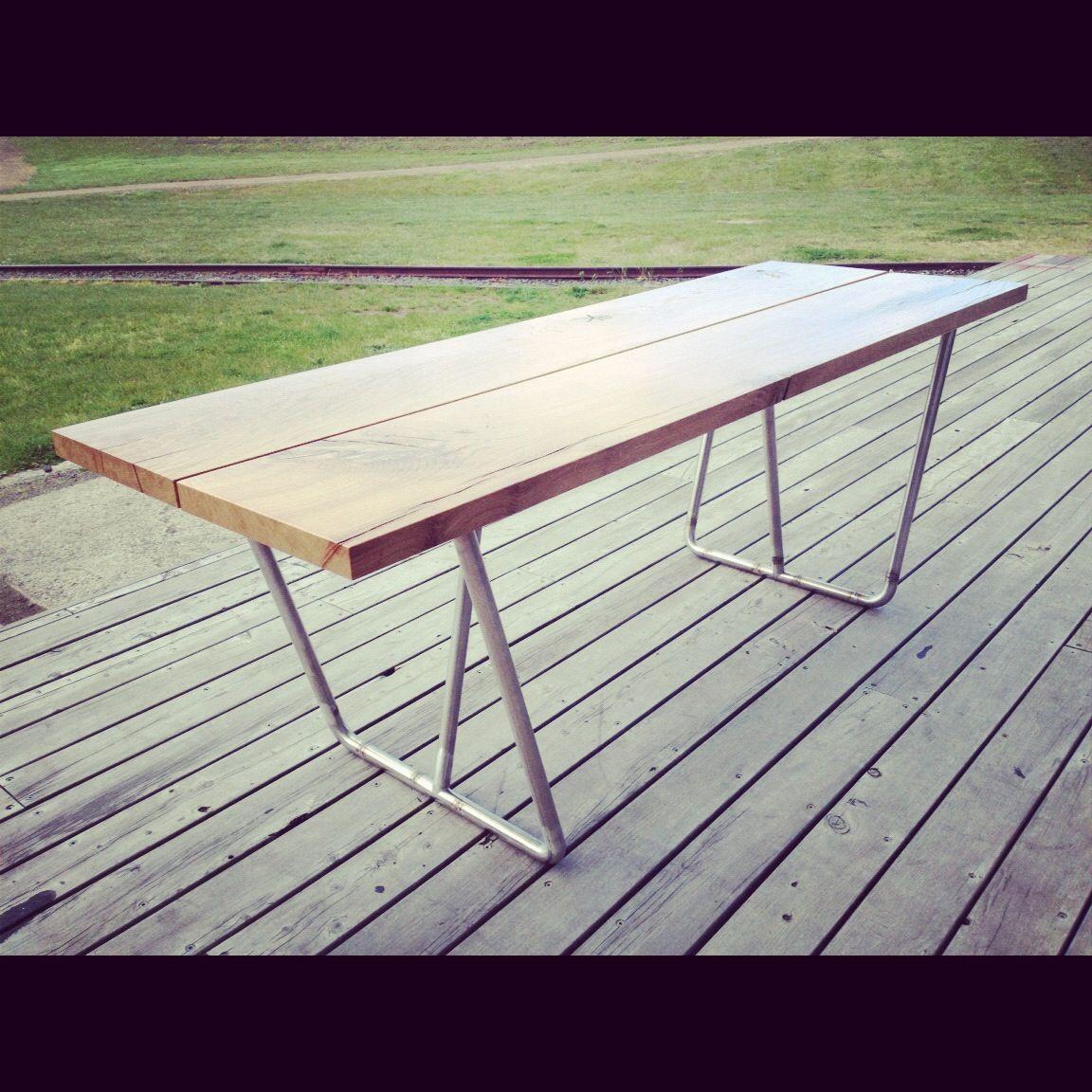 Simon Ancher Studio American oak trestle table