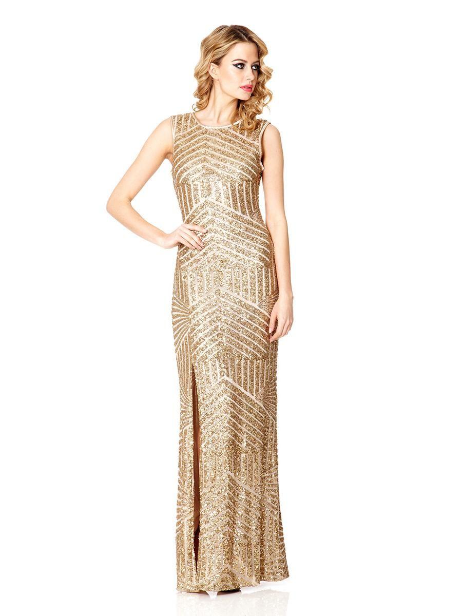7cd901170dcd Champagne Sequin Zig Zag Split Maxi Dress Quiz Clothing