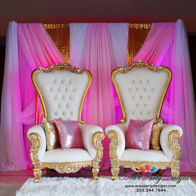 Pink, white and gold fabric backdrop with gold and white