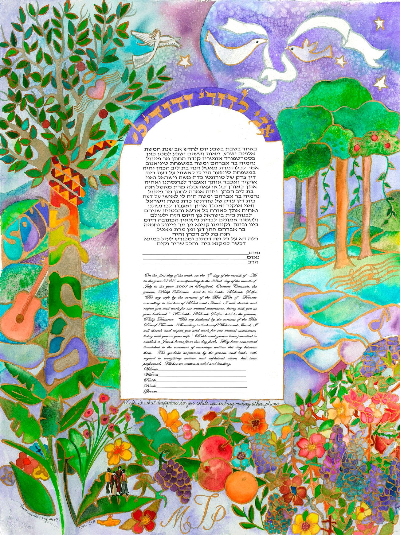 Jewish Wedding Ketubah Trees Paradise Garden Erflies And Roses