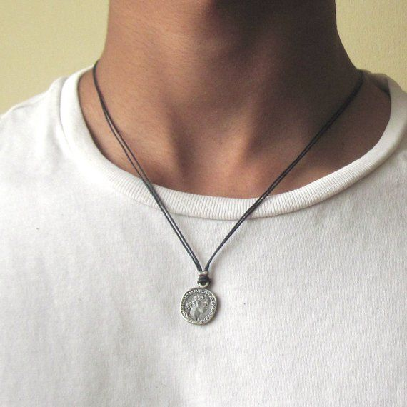 925a2500426 Mens Coin Necklace - Mens Black Necklace - Coin Necklace - Mens Jewelry -  Necklaces For Men - Silver