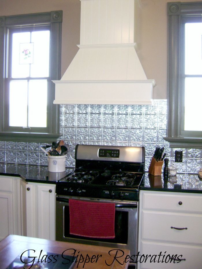 Tin Tile Backsplash White Cabinets Farmhouse Kitchen Via