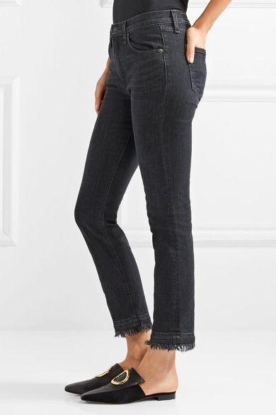 Hana Cropped Frayed High-rise Bootcut Jeans - Black Rag & Bone uqvD7