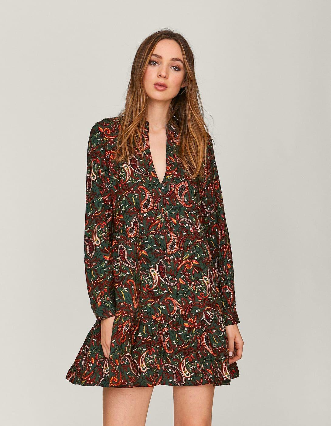 c8919e114 Short V-neck dress - null | Stradivarius United Kingdom V Neck Dress, Tulum