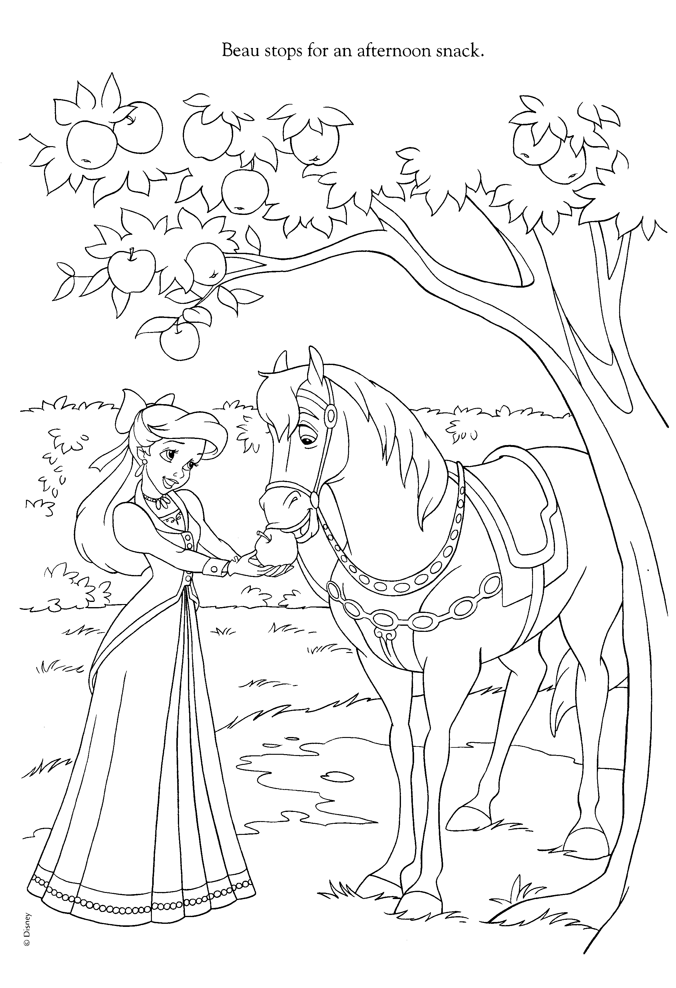 Ariel And Horse Coloring Page Disney Princess Coloring Pages