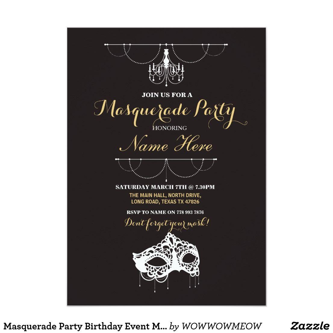 Masquerade Party Birthday Event Mask Invite Masquerade party invite ...
