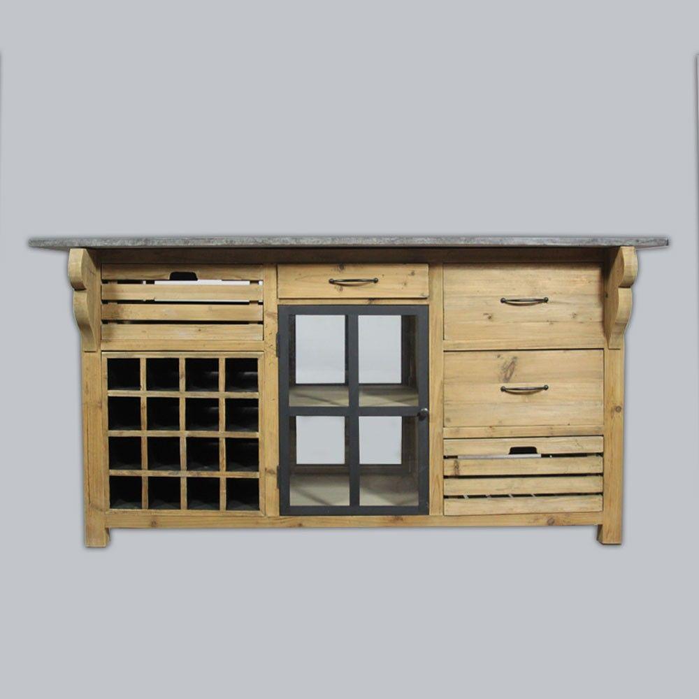 centre de cuisine en bois recycl naturel et son plateau en pierre bleue collection. Black Bedroom Furniture Sets. Home Design Ideas