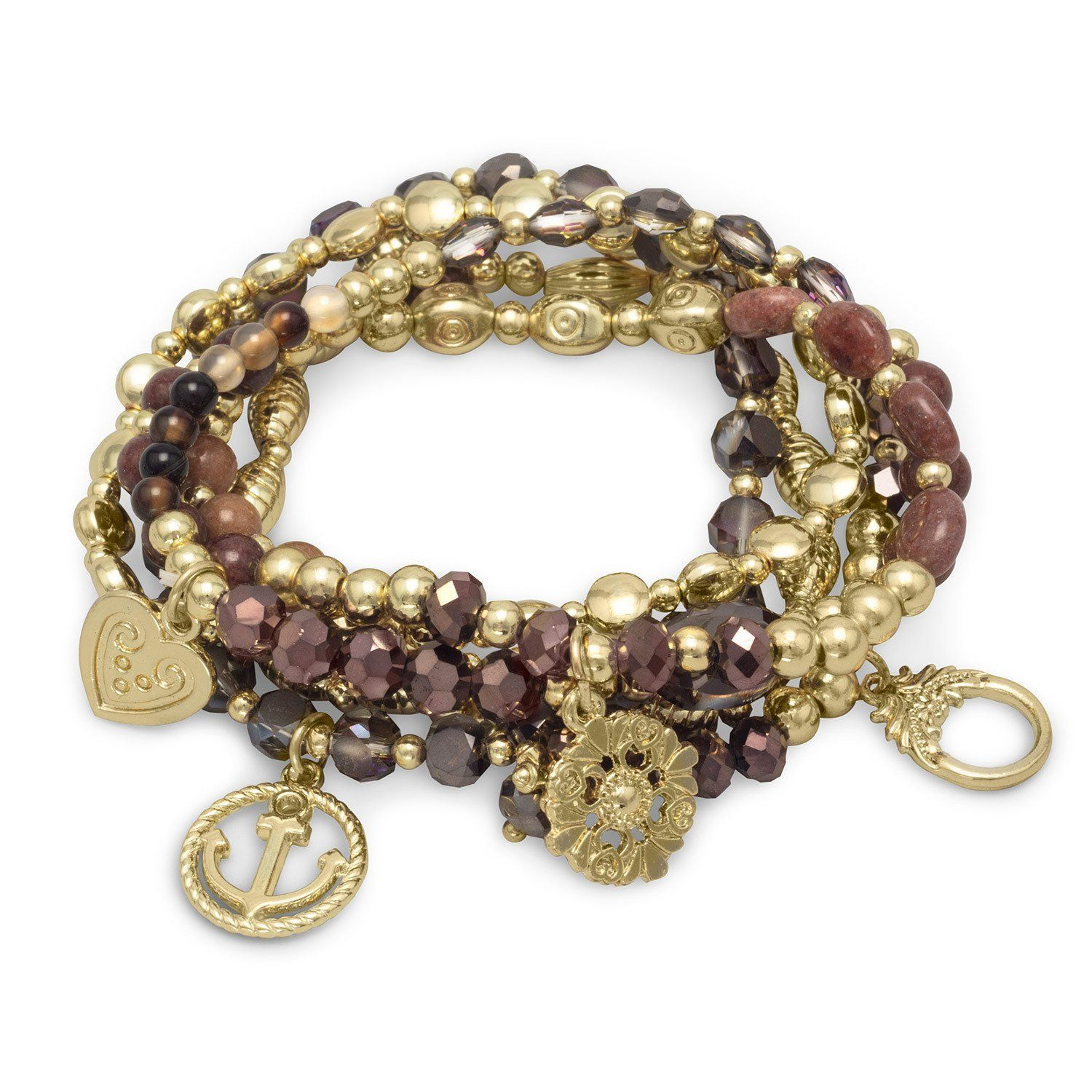 Set of gold tone multicharm fashion stretch bracelets with brown