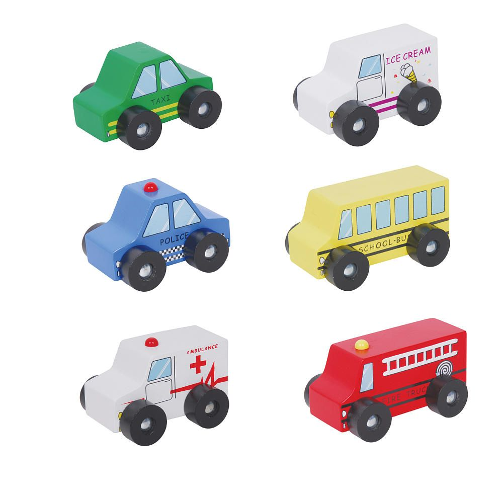 Toys car for baby  Six Piece Wooden Car Set  Flat River Group LLC  Toys
