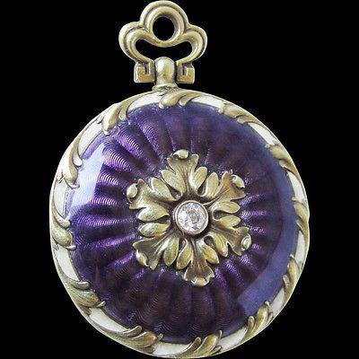14k Solid Gold Diamond Guilloche Enamel Antique Victorian Locket Pendant | eBay