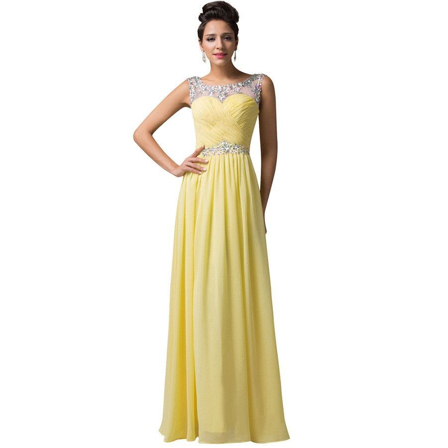 Yellow bridesmaid dress robe demoiselle dhonneur grace karin open yellow bridesmaid dress robe demoiselle dhonneur grace karin open back chiffon long red formal ombrellifo Choice Image