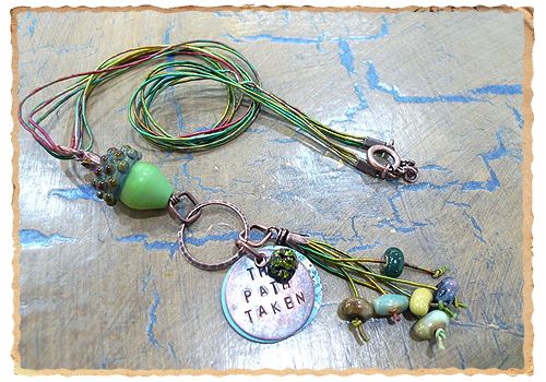 The Path Taken necklace, featuring beads by Elaine Ray and Lori Flanders. Full DIY instructions.