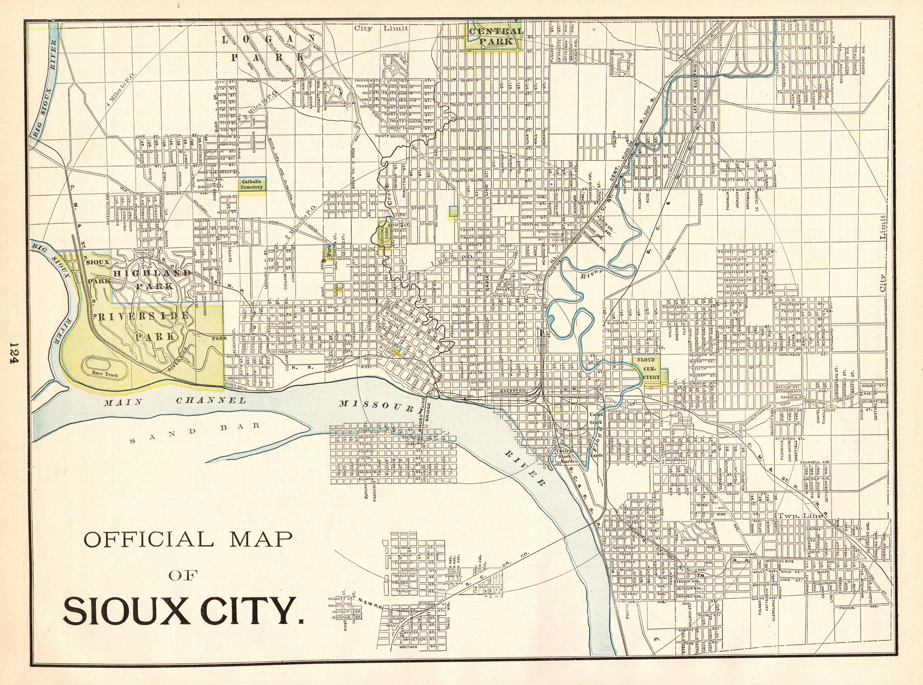 1898 Antique Sioux City Iowa Street Map City Map Of Sioux City