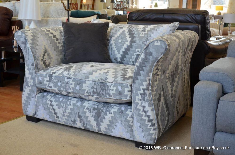 Heywood Snuggler Chair Grey Kilim Pattern Fabric Armchair Rrp 1435 With Images Grey Kilim Fabric Armchairs Kilim Pattern