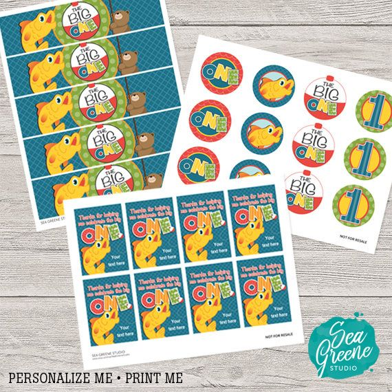 The big one birthday printable first birthday invitation fishing birthday party birthday party printable kit boy birthday party