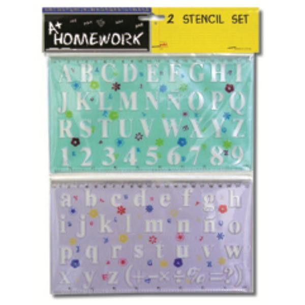 Stencil Set - 2 Pack-Alphabet and Numbers Case Pack 48