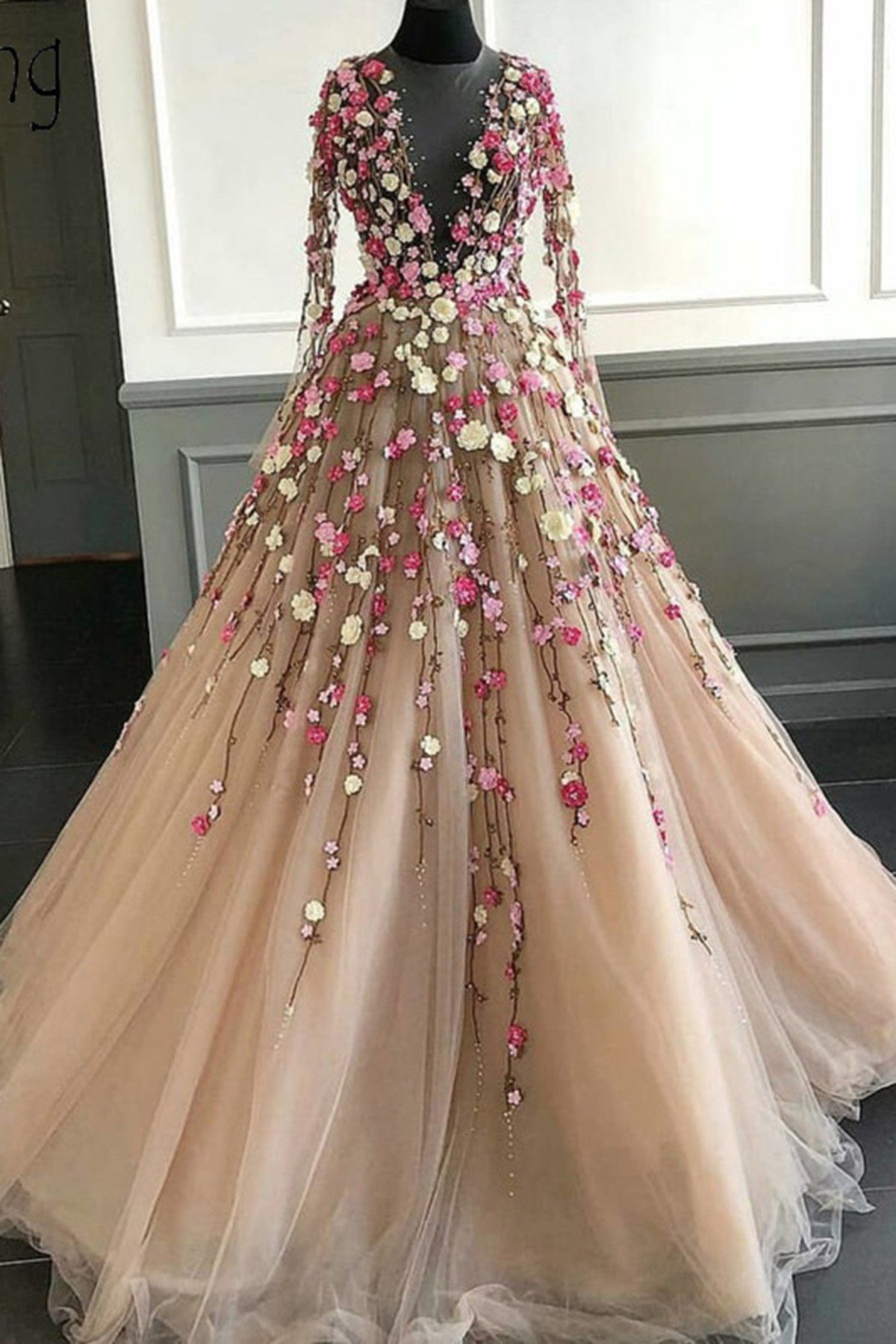 Champagne Tulle 3d Flower Lace Applique Long Senior Prom Dress With Long Sleeve Senior Prom Dresses Floral Prom Dresses Prom Dresses [ 1800 x 1200 Pixel ]