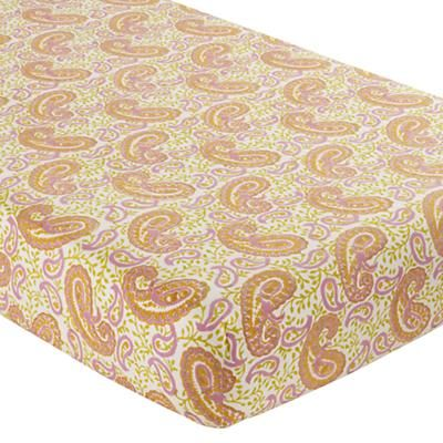 The Land of Nod | Orange Paisley Handpicked Crib Fitted Sheet in Crib Fitted Sheets