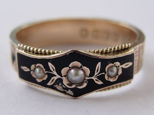 Antique Victorian Chester 1896 Gold, Enamel, Pearl, Hair Mourning Ring