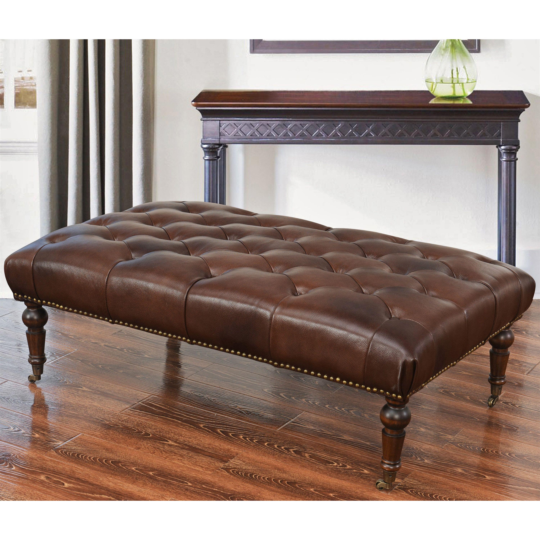 Fine Abbyson Montego Top Grain Leather Tufted Ottoman Montego Theyellowbook Wood Chair Design Ideas Theyellowbookinfo
