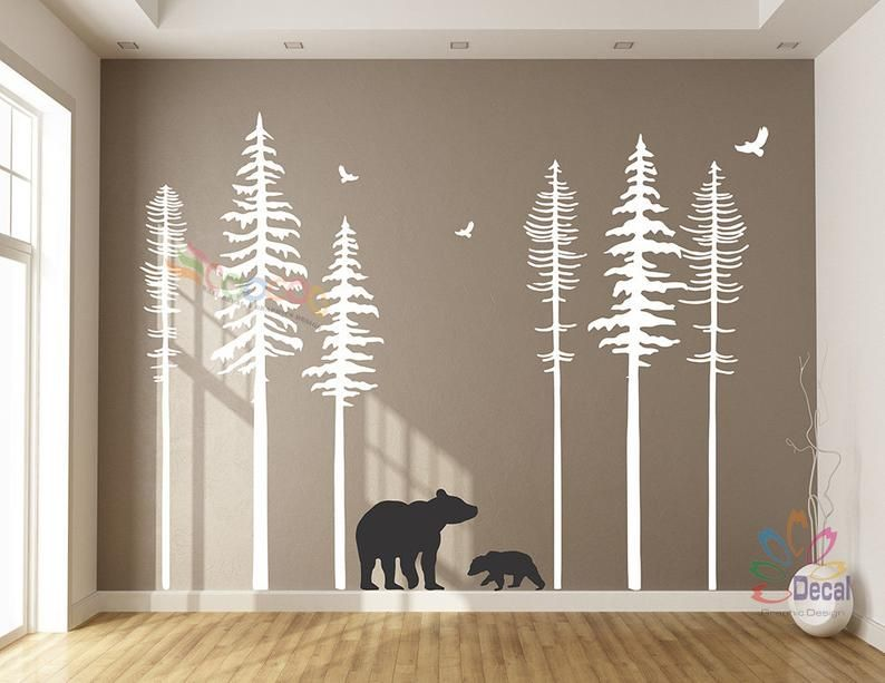 Pine Tree Forest Wall Decals Forest Mural Forest Scene Decals Woodland Wall Decals Nursery Wall Decal 6 trees DC