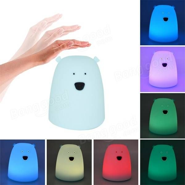 Colorful Cute Little Bear Silicone LED Night Light Battery Powered Touch  Sensor Bedside Kid Lamp