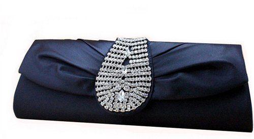 676d54f24dc9 Chicastic Royal Look Satin Silk Rhinestone Studded Wedding Evening Clutch  Purse Bag - Navy Blue