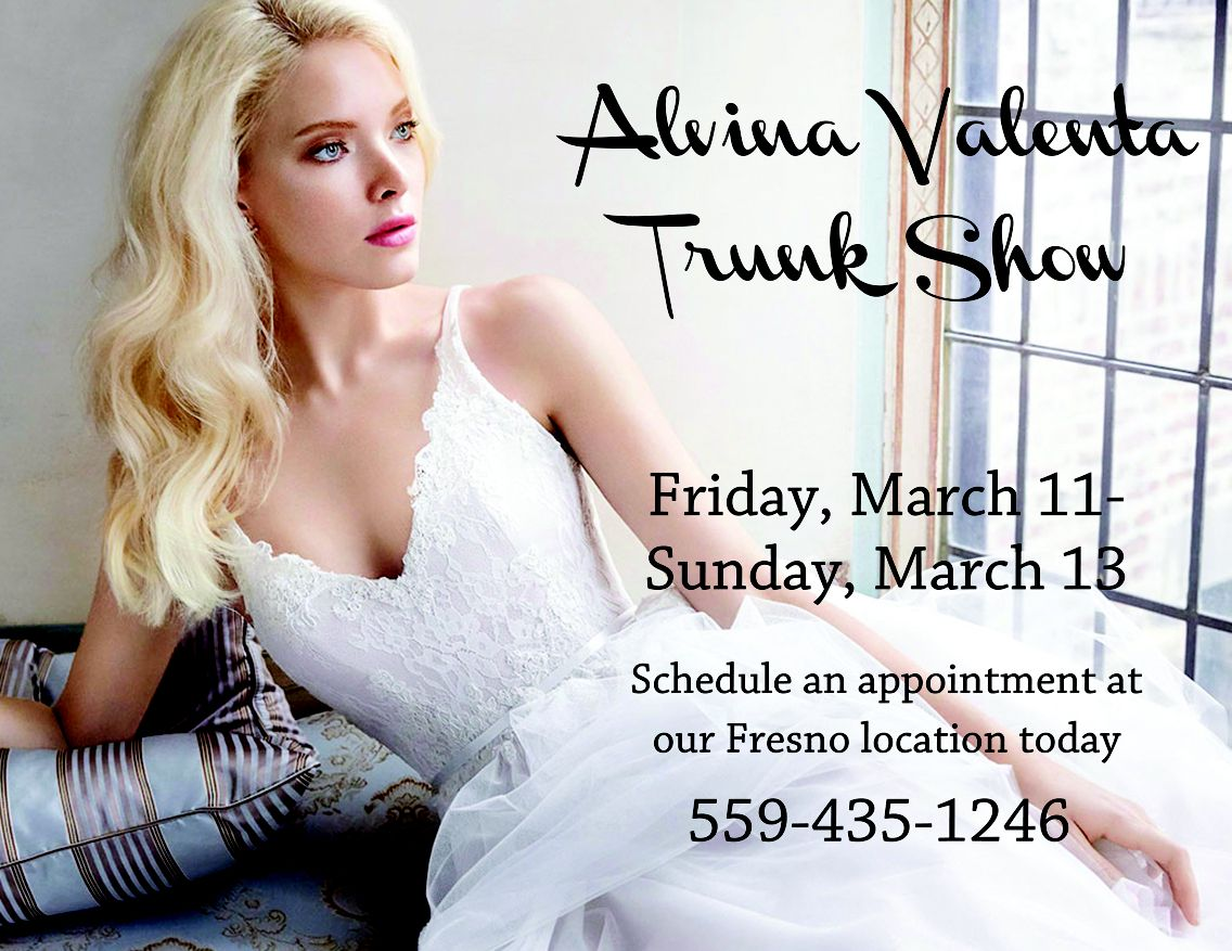 Alvina Valenta Trunk Show starting today through Sunday at our Fresno, CA location. Call to schedule an appointment at (559) 435-1246. #miabellacouture #californiaglam #alvinavalenta #trunkshow #wedding #bride #groom #engagement #ring #marriage #ido #love #sayyestothedress