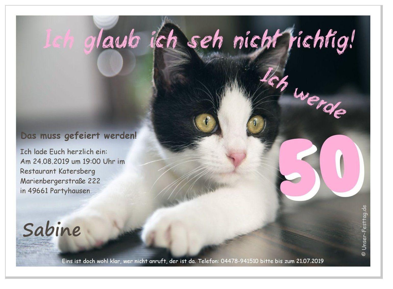 Einladungskarte Katze Sieht Nicht Richtig Einladungen