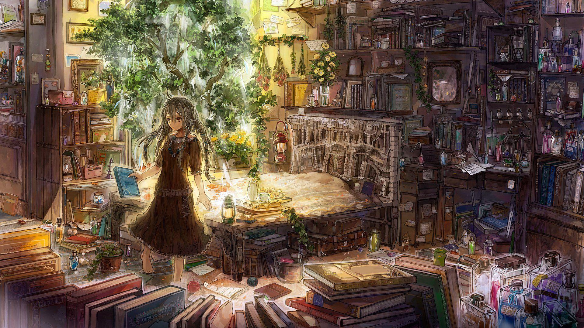 Anime Original Long Hair Bottle Herbs Book Tree Original