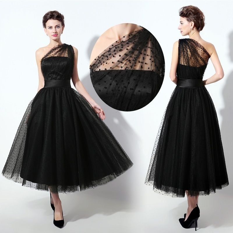 Plus size black one shoulder tea length cocktail prom for Plus size black dresses for weddings