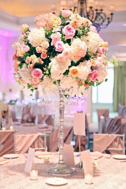 Elegant classic white hydrangea pink rose centerpiece