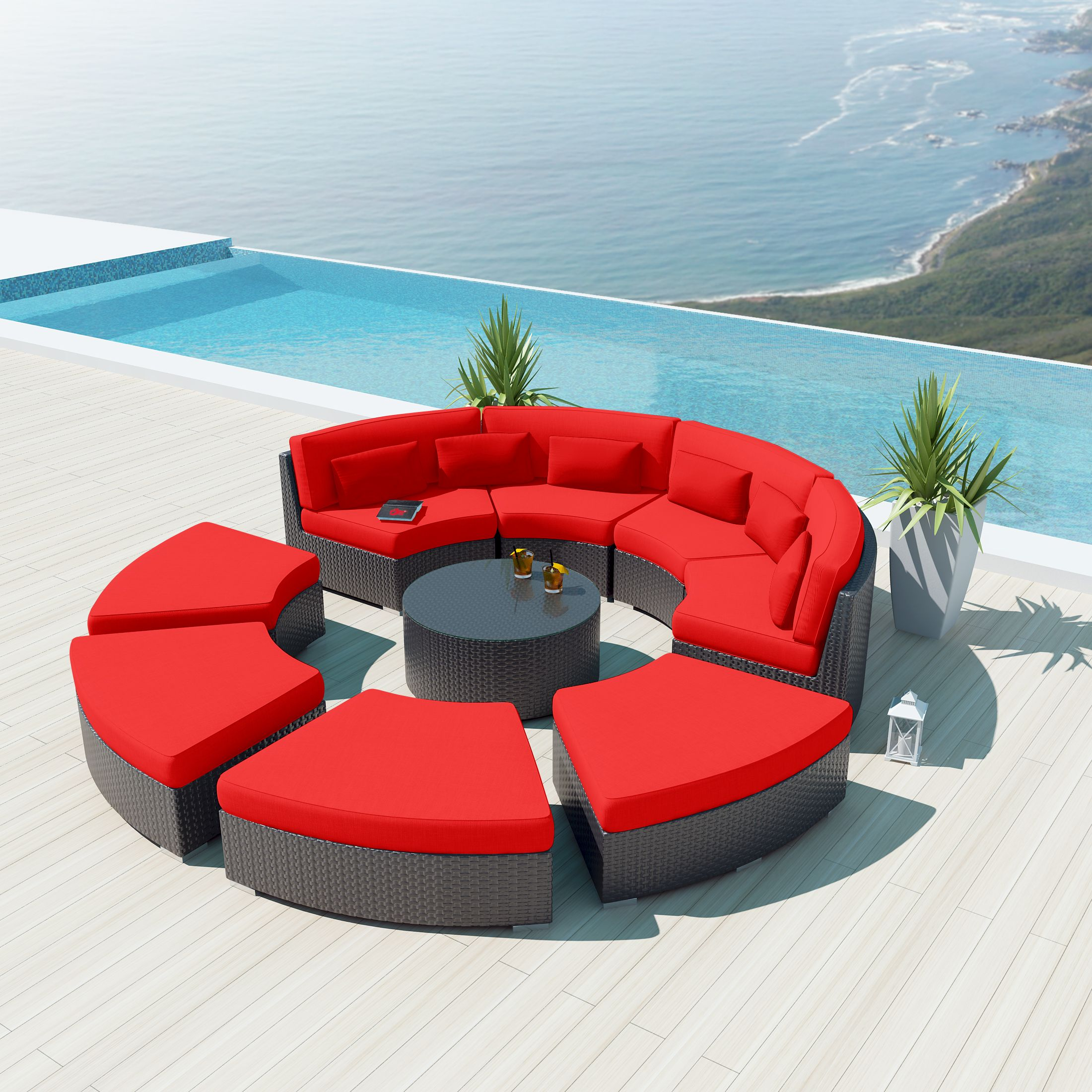 Uduka Modavi 9 Pcs Outdoor Sectional Round Patio Sofa Set Design  # Gebrauchte Muebles