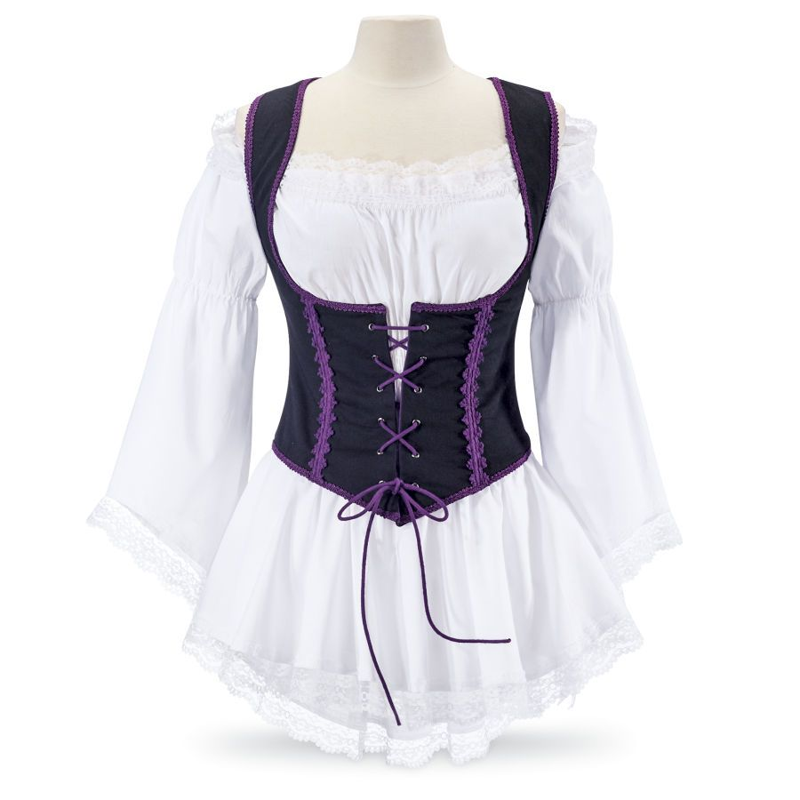 Renaissance inspired! Our reversible, purple/black vest presents you at your most fetching in a lace-trimmed design, cross-corded in front to draw in the waist for perfect fit. 100% cotton. Machine washable.$60
