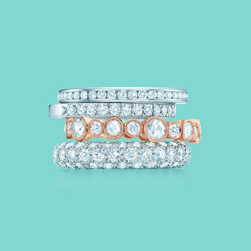 Tiffany Amp Co Diamond Celebration Rings From Top Tiffany Diamond Wedding Band Ring With A Half Circle Of Diamonds Tiffany Novo Band Ring With A
