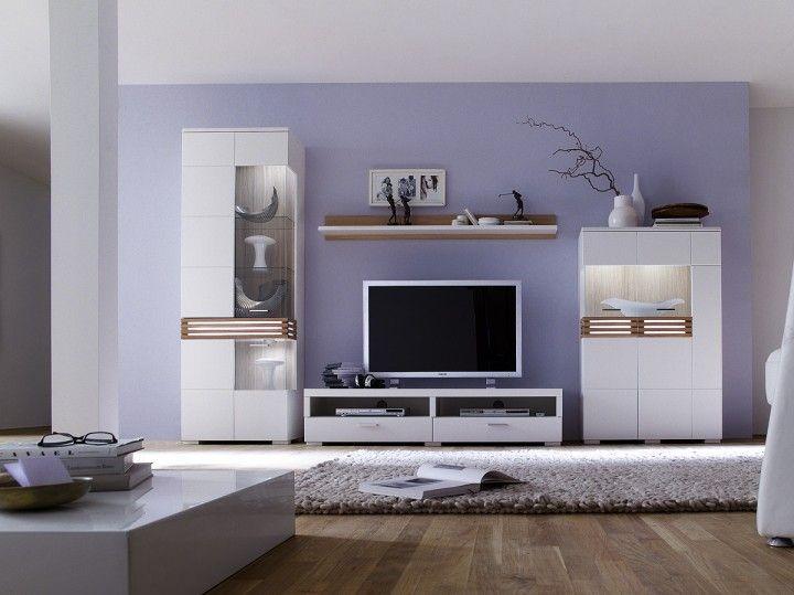 Weiße Wohnwand Loop I   4 Teilig #weiß #möbel #wohnzimmer #wohnwand